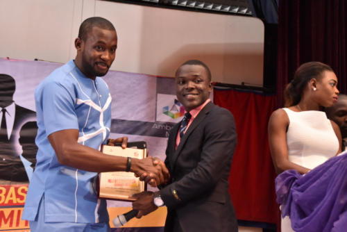 Popular Award-winning Nollywood Actor and Model, Joseph Benjamin receives his award at The Ambassadors Radio Show